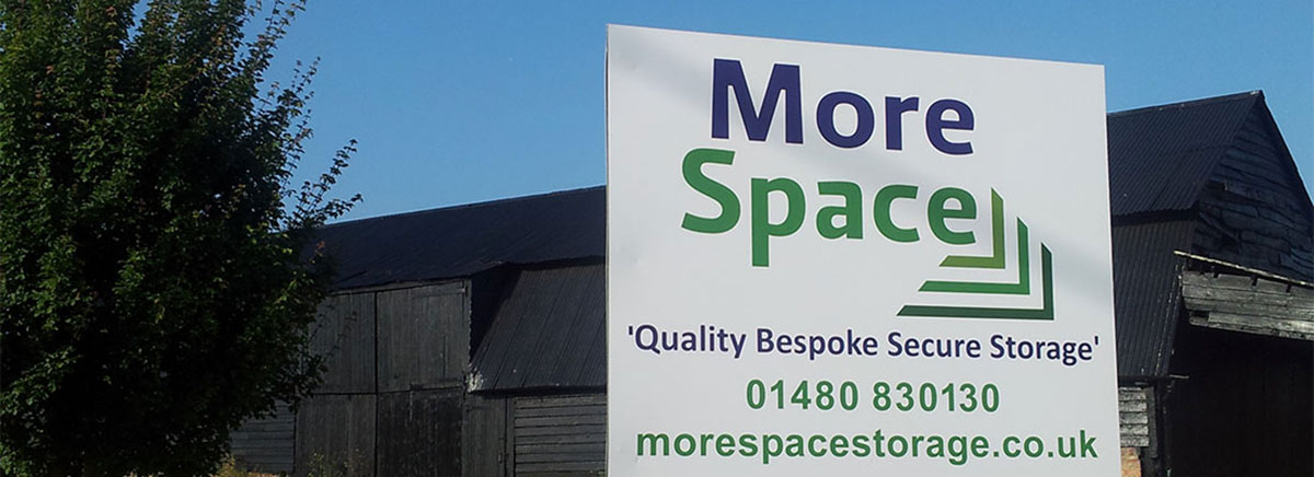 Main gate sign at Morespace Storage near Huntingdon, St Neots, St Ives, Sandy, Cambourne, Peterborough, Bedford & Cambridge